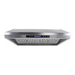 "Cavaliere - Cavaliere AP238-PS65 Under Cabinet Range Hood - 36"" - Cavaliere Stainless Steel 260W Under Cabinet Range Hoods with 4 Speeds, Timer Function, LCD Keypad, Stainless Steel Baffle Filters, and Halogen Lights."