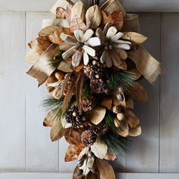 "Horchow - 30"" Natural Spray - Exclusively ours. Nature and holiday decor combine in this handcrafted door spray that has beautiful natural elements such as pine cones, feathers, and nuts with a burlap ribbon. Made of leaves, pine cones, driftwood, pods, PVC, and burlap. 18""W...."