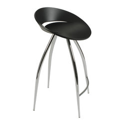 Eurostyle - Rubin-C Counter Stool-Blk/Chrm - Take command of the counter when you sit on this futuristic-inspired stool. It features a disc-shaped seating area and four extraterrestrial, no, wait … extraordinary legs that keep you grounded (on Earth).