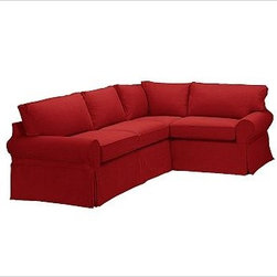 """PB Basic Left 3-Piece Small Sectional Slipcover, Twill Sierra Red - Designed exclusively for our PB Basic Sectional, these easy-care slipcovers have a casual drape, retain their smooth fit, and remove easily for cleaning. Select """"Living Room"""" in our {{link path='http://potterybarn.icovia.com/icovia.aspx' class='popup' width='900' height='700'}}Room Planner{{/link}} to select a configuration that's ideal for your space. This item can also be customized with your choice of over {{link path='pages/popups/fab_leather_popup.html' class='popup' width='720' height='800'}}80 custom fabrics and colors{{/link}}. For details and pricing on custom fabrics, please call us at 1.800.840.3658 or click Live Help. All slipcover fabrics are hand selected for softness, quality and durability. {{link path='pages/popups/sectionalsheet.html' class='popup' width='720' height='800'}}Left-arm or right-arm configuration{{/link}} is determined by the location of the arm on the love seat as you face the piece. This is a special-order item and ships directly from the manufacturer. To view our order and return policy, click on the Shipping Info tab above."""