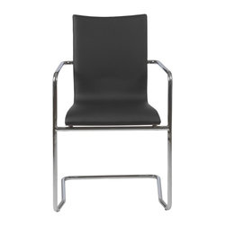 Euro Style - Madge Armchair - Set of 2 - Set of 2. Leatherette seat and back. Walnut veneer on outside back. Chromed steel armrest and base. 21.3in. W x 22.8 in. D x 33.5 in. H (22 lbs.)Grand ideas for small spaces, the smooth and clean geometric shapes give your rooms a trendy, up-to-date look. The furniture design make your rooms stylish and sophisticated, symbolizing your self confidence.