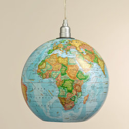 "World Market - 12"" Globe Hanging Pendant Lamp - We've converted a traditional desk globe into a versatile hanging light with our exclusive 12"" Globe Hanging Pendant Lamp. A fun, eclectic addition to the studio, home office or kids' room, this unique pendant fills the room with charming ambience."