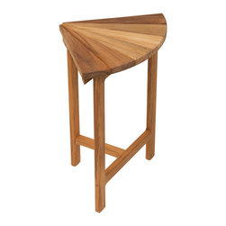 """Teakworks4u - Plantation Teak Corner Fan Bench/Seat for Shower (11.5"""" W x 11"""" D) - This teak corner bench has an elegant fan design on the top of the bench.  This bench is practical for any shower, bathroom or room in your house, and it looks amazing too!"""