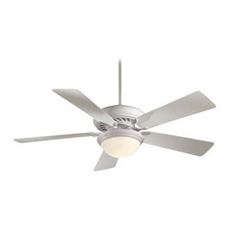 Minka Aire Fans - Ceiling Fan with Light with White Glass in White Finish - F569-WH - Transitional white 1-light indoor ceiling fan. Takes (1) 100-watt halogen T4 bulb(s). Bulb(s) included. Dry location rated.