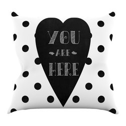 "Kess InHouse - Skye Zambrana ""You Are Here"" Black White Throw Pillow (16"" x 16"") - Rest among the art you love. Transform your hang out room into a hip gallery, that's also comfortable. With this pillow you can create an environment that reflects your unique style. It's amazing what a throw pillow can do to complete a room. (Kess InHouse is not responsible for pillow fighting that may occur as the result of creative stimulation)."