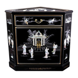 """Oriental Furniture - Lacquer Corner Cabinet - Black Mother of Pearl Ladies - Hand-crafted by artisans in the Guangdong province of mainland China, the Japanese Corner Cabinet boasts two doors and a drawer. Finely detailed and lacquered, it features a delicate, hand-appliqued mother of pearl courtyard scene. The doors are equipped with lacquered brass hardware and open to reveal one removable shelf. The two short dimensions are 5.50"""". The front is 26.50"""" across and the two back dimensions are 24.00"""" wide."""