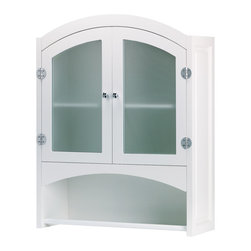 KOOLEKOO - Bathroom Cabinet - Understated cabinet elegantly hides bath products and towels behind opaque glass doors. Silver-finished, magnetic-latch hardware.