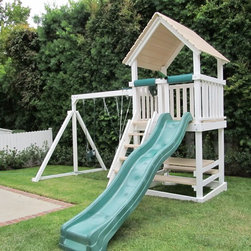 Polyvinyl Play Set - The Tiger Towers Polyvinyl Play Set features a classic design for a budget price. It includes dual swings, a slide and side ladder.