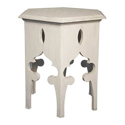 NOIR - Noir Hexagon Side Table - Material: MahoganyFinish: White WeatheredNoir products are hand finished and created with a concentrated effort toward environmental sustainability. Variations could occur and are not considered as product defects.