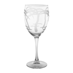 Rolf Glass - Palm Tree Goblet 10.5oz, Set of 4 - Still or sparkling, it doesn't matter. These are the water goblets you'll turn to for entertaining on those nights on the deck or patio. With graceful, swaying palm trees engraved on every side, you'll swear you're in the tropics.