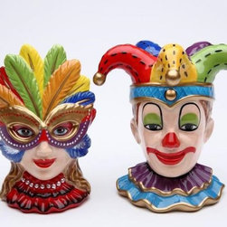 CG - 4 Inch Ceramic Clown and Female Mask Set with Colorful Feathers - This gorgeous 4 Inch Ceramic Clown and Female Mask Set with Colorful Feathers  has the finest details and highest quality you will find anywhere! 4 Inch Ceramic Clown and Female Mask Set with Colorful Feathers  is truly remarkable.