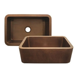 Whitehaus Collection - Hammered Bronze Whitehaus WH3020COFC Smooth Copper Single Bowl Front Apron Kitch - Achieve the look of a traditional farm house with the Whitehaus brand copper front apron kitchen sink. These undermount sinks have a timeless beauty and are very functional. You can choose from the smooth or hammered finish, whichever suits your taste. And since each piece is a hand-hammered work of skilled craftsmen, you can proudly say that your sink is one of a kind.