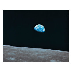 Custom Photo Factory - Earth and Lunar Land Canvas Wall Art - Earth and Lunar Land  Size: 20 Inches x 30 Inches . Ready to Hang on 1.5 Inch Thick Wooden Frame. 30 Day Money Back Guarantee. Made in America-Los Angeles, CA. High Quality, Archival Museum Grade Canvas. Will last 150 Plus Years Without Fading. High quality canvas art print using archival inks and museum grade canvas. Archival quality canvas print will last over 150 years without fading. Canvas reproduction comes in different sizes. Gallery-wrapped style: the entire print is wrapped around 1.5 inch thick wooden frame. We use the highest quality pine wood available. By purchasing this canvas art photo, you agree it's for personal use only and it's not for republication, re-transmission, reproduction or other use.