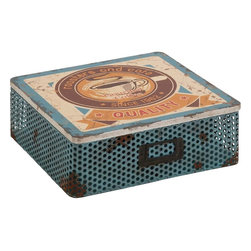 """Benzara - The Rustic Metal Wood Box - Are you looking for a box that won't just help you with storing things but will also add a nostalgic element to your decor? Looking for a box that people will take instant notice of? Well, the metal wood box is one creation that will instantly take your fancy. With a distressed metal body, this box will be perfect to store your treasured memories in. The rust like effect gives it an intentional agedness.But this box is not old; it is as new as can get. And hence it will last with you for years to come. A perfect gift for someone of the older generation; the older folk will revive their memories not only because of the texture and make of this box, but also because it will let them store their treasured things. So what are you waiting for? Consider getting this cool metal wood box. Metal wood box dimensions: 10 inches (W) x 10 inches (D) x 4 inches (H); Wood box color: Assorted; Made from: Metal, Wood; Dimensions: 11""""L x 11""""W x 5""""H"""