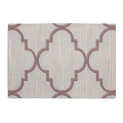 Lavender Large Morrocan Trellis Custom Placemat Set - Is your table looking sad and lonely? Give it a boost with at set of Simple Placemats. Customizable in hundreds of fabrics, you're sure to find the perfect set for daily dining or that fancy shindig. We love it in this large purple quatrefoil trellis on striated oatmeal gray sateen. a serene & elegant addition to classic decor