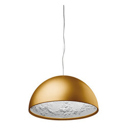 FLOS - Skygarden 1 Suspension Lamp - Features: -Provides diffused lighting.-Hemispherical, mechanically-processed cast plaster diffuser, painted white inside.-Plaster diffuser support in die-cast aluminum alloy, liquid-painted white.-Molded upper bushing in die-cast, polished aluminum alloy, protected with transparent paint on the entire visible part.-Upper cable gland and blocking ring nut in black injection-molded PC (polycarbonate).-Shaped, galvanized adjustment screws.-Transparent, injection-molded, upper and lower silicone shock absorbers.-Lamp holder and fixing support in black injection-molded PPS (polyphenylene sulfide).-Flashed and blown opal glass diffuser.-Molded fixing ring nut in die-cast aluminum alloy with alodine plating.-Skygarden 1 frieze in photo-etched and mechanically drawn AISI 304 steel.-Molded and galvanized steel ceiling attachment Gray, injection-molded PA6 (Nylon) rose.-Edida 2008, red dot design award.-Suspension steel cable.-Terminal block supply.-IP 20 Rating.-Accommodates: 1 x MAX 150W E27 HSGS.-Voltage: 230V.-Skygarden collection.-Country of Origin: Italy.-Distressed: No.-Number of Tiers: 1.Dimensions: -Length cord: 157.48''.-Shade dimensions: 11.8'' H x 23.6'' W.-Overall dimensions: 11.7'' H x 23.4'' W x 23.4'' D.-Assembled Weight: 29.98 lbs.