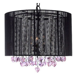 The Gallery - Crystal chandelier with Large Black Shade and Pink Crystalearts - 100% crystal chandelier. A Great European Tradition. Nothing is quite as elegant as the fine crystal chandeliers that gave sparkle to brilliant evenings at palaces and manor houses across Europe. This beautiful chandelier has 3 lights and is decorated and draped with 100% crystal that captures and reflects the light of the candle bulbs. This wonderful chandelier also comes with the large shade as shown. The timeless elegance of this chandelier is sure to lend a special atmosphere anywhere its placed!