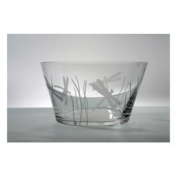 """Rolf - Dragonfly Large Glass Serving Bowl - Inspired by summer gardens, this Dragonfly design will lift your spirits. A Light-hearted rendition of classic theme, this collection utilizes whimsy and movement. Evoke feelings of warm evenings, and sunlight dancing across blades of grass. Lemonade or punch never tasted as refreshing as it does when delivered by a dragonfly. * Diameter: 10"""""""