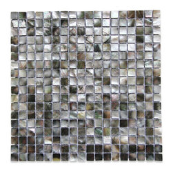 "GlassTileStore - Deep Sea Black Pearls Square Pattern Tile - Deep Sea Black Pearls Square Pattern Glass Tile             This captivating and rare mother of pearl tile in shades of iridescent black and white is artfully arranged in a square pattern. The pearl shell glass will add a durability and lasting exquisiteness to your kitchen, or  fireplace  installation.         Chip Size: 15mm x 25mm   Color: Shades of Iridescent Black and White   Material: Pearl Shell Glass   Finish: Polished    Sold by the Sheet - each sheet measures 12"" x 12"" (1 sq. ft.)   Thickness: 2 mm   Please note each lot will vary from the next.   This tile is not recommended to be installed in a shower, shower floor or pools.            - Glass Tile -"