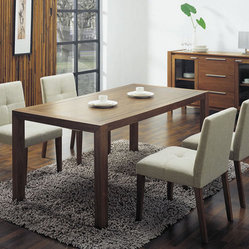 Overnice Wooden with Glass Top Fabric Seats Designer Modern Dining Room