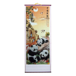 Frolicking Pandas Chinese Scroll