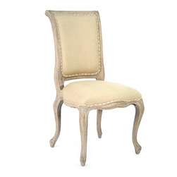Dijon Side Chair - Limed Grey Oak with Hemp Linen - A sturdy linen-hemp blend secured by broad welting and tiny nail heads for an appealing constructed look upholsters a ceruse-oak frame which is light and graceful, making the Dijon Side Chair fit for a country manor or an urban loft alike. Cabriole styling on all four legs is an unusual luxury in this traditional chair design with an elegant twist of personality, while a rolled back gives a cultured, detailed look.