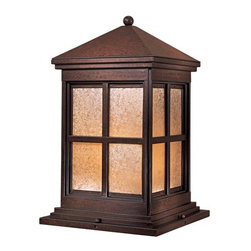 The Great Outdoors - The Great Outdoors GO 8567-PL Berkeley Collection Energy Star Rated Single Light - Berkeley Collection Energy Star Rated Single Light Column Mount Lantern with French Scavo GlassTypical of the craftsman style with a clean square build, sloping roof, and visible architectural elements, this column mount lantern is an attractive way to greet visitors to your home. Use of a compact halogen bulb make it Energy Star Qualified.