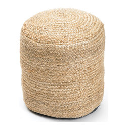 Round Braided Hemp Pouf - Enhance the grace of your home with this Round Braided Hemp Pouf. It features a round shaped structure constructed with kilim material and exhibits a natural finish. The durability and resistance of this Pouf is commendable.