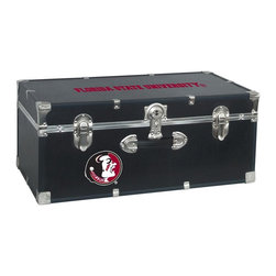 Seward Trunk - Florida State University Storage Trunk - Officially licensed. Front center key lock. One handle on the front. Paper lined to help protect interior contents. Screen printed logo. Heavy gauge vinyl. Nickel hardware and trim. Made from wood. Black finish. Made in USA. 30 in. L x 15.75 in. W x 12.25 in. H (18 lbs.)Storage you can show off!!!