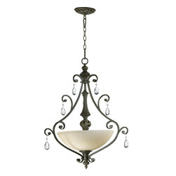 Quorum Lighting - Quorum Lighting Fulton Traditional Inverted Pendant Light X-45-3-2308 - Lavish, classic, eloquent. The Fulton Traditional Inverted Pendant Light features an arresting design that is sure to entice guests. Finished in a classic Bronze, the frame has curving arms with teardrop cut-glass accents. The shade is made of sheer Amber Scavo glass.