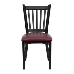 Flash Furniture - Flash Furniture Hercules Series Black Back Metal Chair in Burgundy - Flash Furniture - Dining Chairs - XUDG6Q2BVRTBURVGG - Provide your customers with the ultimate dining experience by offering great food service and attractive furnishings. This heavy duty commercial metal chair is ideal for Restaurants Hotels Bars Lounges and in the Home. Whether you are setting up a new facility or in need of a upgrade this attractive chair will complement any environment. This metal chair is lightweight and will make it easy to move around. For added comfort this chair is comfortably padded in vinyl upholstery. This easy to clean chair will complement any environment to fill the void in your decor. [XU-DG-6Q2B-VRT-BURV-GG]