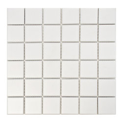 None - SomerTile Victorian Quad Matte White Porcelain Mosaic Tiles (Pack of 10) - Reminiscent of Victorian-era tile mosaics,this Somertile 2-in square mosaic tile set features a smooth,matte finish for a clean,stylish look perfect for any setting whether it's modern construction or a historical renovation.