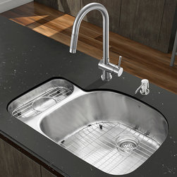 """Vigo - All in One 32"""" Undermount Stainless Steel Kitchen Sink and Faucet Set - Enhance the look of your kitchen with a VIGO All in One Kitchen Set featuring a 32"""" Undermount kitchen sink, faucet, soap dispenser, matching bottom grids and strainers.; The VG3321R double bowl sink is manufactured with 18 gauge premium 304 Series stainless steel construction with commercial grade premium satin finish; Fully undercoated and padded with a unique multi layer sound eliminating technology, which also prevents condensation.; All VIGO kitchen sinks are warranted against rust; Exterior Measures: 31 3/4""""W x 21""""D; Larger bowl's interior dimension: 21 1/2""""W x 19""""D; Smaller bowl's interior dimension: 7""""W x 14 1/4""""D; Bowl depth: 9"""" (larger bowl) and 5"""" (smaller bowl); Required interior cabinet space: 34""""; Kitchen sink is cUPC and NSF-61 certified by IAPMO; All mounting hardware and cutout template provided for 1/8"""" reveal or flush installation; The VG02008ST kitchen faucet features single function pull-out faucet head with power stream, and is made of solid brass with a stainless steel finish.; Includes an aerator that resists mineral buildup and is easy-to-clean; High-quality ceramic disc cartridge; Retractable 360-degree swivel spout expandable up to 30""""; Single lever water and temperature control; All mounting hardware and hot/cold waterlines are included; Water pressure tested for industry standard, 2.2 GPM Flow Rate; Standard US plumbing 3/8"""" connections; Faucet height: 17""""; Spout reach: 7 7/8""""; Kitchen faucet is cUPC, NSF-61, and AB1953 certified by IAPMO.; Faucet is ADA Compliant; 2-hole installation with soap dispenser; Soap dispenser is solid brass with an elegant stainless steel finish and fits 1 1/2"""" opening with a 3 1/2"""" spout projection.; Matching bottom grid is chrome-plated stainless steel with vinyl feet and protective bumpers.; Sink strainers are made of durable solid brass in chrome finish; All VIGO kitchen sinks and faucets have a Limited Lifetime Warranty"""