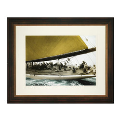 Frontgate - Yankees Run - High-quality photo reproduction. Cream double mat. Framed in dark espresso molding with gold interior trim. Our Yankees Run Wall Framed Photo Print captures all the action of a thrilling yacht race. Beautifully framed, this high-quality photo print is a captivating composition that features a great angle of the hull leaving the water. . . .
