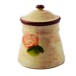 Hand-Painted Rose Sugar Bowl
