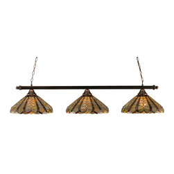 "Toltec - Toltec 803-BC-987 Black Copper Finish 3-Light Square Bar - Toltec 803-BC-987 Black Copper Finish 3-Light Square Bar with 16"" Paradise Tiffany Glass"