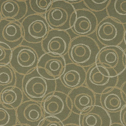 Green Gold and White Overlapping Circles Durable Upholstery Fabric By The Yard - P8435 is great for residential, commercial, automotive and hospitality applications. This contract grade fabric is Teflon coated for superior stain resistance, and is very easy to clean and maintain. This material is perfect for restaurants, offices, residential uses, and automotive upholstery.