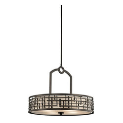 Kichler Lighting - Kichler Lighting 43047OZ Loom Transitional Pendant Light - This 4 light pendant from the Loom collection features a basket weave frame and textured intertwined Olde Bronze details with a white fabric shade and satin-etched glass diffuser. It combines the classic lines of mission with the casual look of lodge and rustic styles in one. Sloped ceiling kit included.