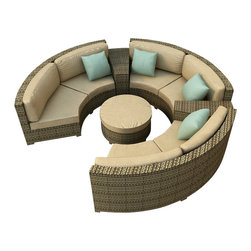 Forever Patio - Hampton 6 Piece Wicker Patio Sectional Set, Heather Wicker and Tan Cushions - The Forever Patio Hampton Radius 6 Piece Rattan Patio Sectional Set with Tan Sunbrella cushions (SKU FP-HAMR-6SEC-HT-BE) comfortably seats 6 to 7 adults, and conveniently includes an ottoman and contouring end tables that accent the 3 curved loveseats. This set features Heather resin wicker, which is made from High-Density Polyethylene (HDPE) for outdoor use. Each strand of this outdoor wicker is infused with its natural color and UV-inhibitors that prevent cracking, chipping and fading ordinarily caused by sunlight, surpassing the quality of natural rattan. Each piece features thick-gauged, powder-coated aluminum frames that make the set extremely durable. Also included with this curved sofa set are fade- and mildew-resistant Sunbrella cushions. With its deep-seated design and plush cushions, this modern round sofa sectional set features top-of-the-line comfort and size, especially when compared to the competition.