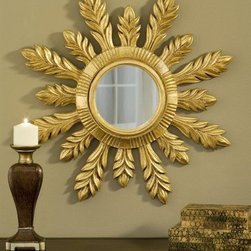 Hickory Manor House - 29 in. Solare Mirror in Gold Leaf Finish - 100% Made In USA. Made of pecan shell resin. Hand Applied Finish. Hand Cast. 29 in. L x 29 in. W x 3 in. H  (16 lbs)For over 20 years, Hickory Manor House has produced unique classical mirrors. Our designs are inspired by elements of fine antiques from around the world. We expertly craft each item with quality materials and historical perspective, maintaining important character features that give each piece an authentic original appearance. We are proud that all of our products are produced in the USA. Made of pecan shell resin, allowing us to devote skillful attention to the design and to provide a wide array of beautiful hand-applied finishes.