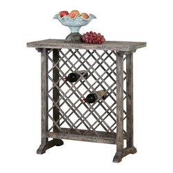 Uttermost - Uttermost Annileise Wooden Wine Table - Annileise Wooden Wine Table by Uttermost Casual Wine Storage Displayed In Poplar Wood Latticework In A Sun Faded, Weathered Charcoal Finish Showing Multiple Layers Of Hand Distressing.