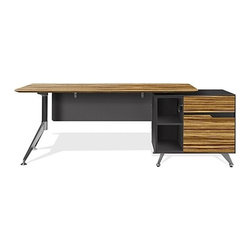 Jesper Office - 400 Collection Executive Desk With Cabinet | Jesper Office - By Jesper Office.The geometrically scaled 400 Collection Executive Desk with Cabinet integrates office necessities into one piece. The large desktop offers plenty of workspace for a laptop and accompanying resource materials, while the built-in cabinet keeps everything neat and tidy. Two open storage compartments in the return cabinet keep frequently used items within easy reach, while the file drawer accommodates legal or letter sized hanging file folders. The angular chromed legs of the 400 Collection Executive Desk provide an industrial flair, while the floating modesty panel offers coverage with modern lines.   Product Features:  Select from right or left cabinet unit Built-in return cabinet Integrated wire management and modesty panel Filing cabinet drawers have ball barring extensions and central locking system High quality European hardware Integrated cabinet has lower filing drawer, upper utility drawer, and two open storage compartments Commercial grade Limited 5 year warranty