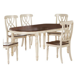 Monarch Specialties - Monarch Specialties 60x42 Dining Table in Antique White - Finished in a walnut veneer, this traditional dining table will create the perfect look for intimate dinners or casual get togethers. The rectangular shaped piece features curved edges, turn post legs, and is brushed in an antique white color. This table has a simple yet stylish look that can blend into any decor. What's included: Dining Table (1).
