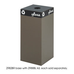"""Safco - Public Square Brown Base, 31-Gallon - Express your environmental stance and make it easy to encourage recycling. The heavy-gauge steel base has a powder coat finish and the hinged tops are specifically designed to accept cans, glass, newspaper or waste. Includes decals designed to segregate waste and recyclables. Securing wires hold plastic container bags (not included) in place. This Brown base has a 31 Gallon capacity, choose a top that best suits the size of the base. Base and tops ordered separately.; Features: Material: Steel; Color: Brown; Finished Product Weight: 27 lbs.; Assembly Required: No; Limited Lifetime Warranty; Dimensions: 15 1/4""""W x 15 1/4""""D x 32""""H"""