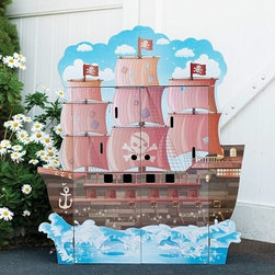 Teamson Design Pirate Boat Play House with Furniture - Why should the landlubbers have all the fun? The Teamson Design Pirate Boat Play House with Furniture brings a whole shipload of high-seas adventure to a playroom near you. Interior walls are painted with all the trappings of the pirate life, from hammocks for shut-eye to cannonballs, cargo, and barrels full of provisions. Set includes six pirate figures, one more who seems to be an innocent bystander, a monkey, and a parrot. Headroom onboard is ample enough to accommodate other dolls and figures up to 12 inches tall. This frigate is equipped to defend itself with four cannons lining the mid-deck. Upper and lower decks have dividers to create separate play spaces. Time to clean up? Just close the two large wooden doors for a tidy look when not in use. Made to last of eco-friendly engineered wood and non-toxic paint. Easily assembled. Intended for ages 4 and up. About Teamson DesignBased in Edgewood, N.Y., Teamson Design Corporation is a wholesale gift and furniture company that specializes in handmade and hand painted kid-themed furniture collections and occasional home accents. In business since 1997, Teamson continues to inspire homes with creative and colorful furniture.