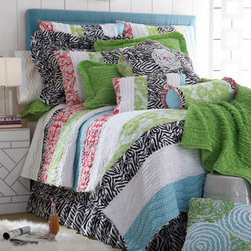 "Horchow - European Quilted Aubrey Sham - There's nothing tame about this bright melange of dots, flowers, zebra stripes, and ruffles! All of cotton. Imported. Machine wash. Pieced quilt has a zebra reverse to match the gathered zebra dust skirt with split corners and 18"" drop. ""Lauren"" ac..."