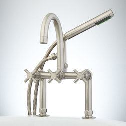 Sebastian Deck-Mount Tub Faucet and Hand Shower - Cross Handles - The perfect addition for your contemporary bathroom, this Deck-Mount gooseneck faucet features cylindrical cross handles and a sleek, modern hand shower.
