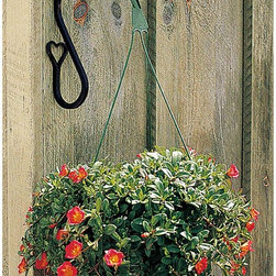 "Renovators Supply - Plant Hangers Wrought Iron Heart Plant Hanger 7"" H projects 9"" - For plants or bird feeders.  Forged black iron.  These heart plant hangers are weatherproof and measure 7"" high and have a 9"" projection."