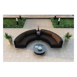 Harmonia Living - Urbana Eclipse 4 Piece Round Sectional Set, Coffee Cushions - Create the perfect outdoor gathering with the Harmonia Living Urbana Eclipse 4 Piece Modern Patio Round Sectional Sofa Set with Brown Sunbrella cushions (SKU HL-URBN-E-4SECT-CO), featuring clean curves and brushed aluminum feet. This modern round sofa's seating is a great match for patios with fire pits or circular tables. The seats are made of High-Density Polyethylene (HDPE) wicker infused with a coffee bean color and UV protection, surpassing the quality of natural rattan. Underneath the resin wicker is a thick-gauged aluminum frame, providing superior corrosion resistance. Few curved outdoor sofa sets offer this level of quality at such an affordable price. Fire pit not included.