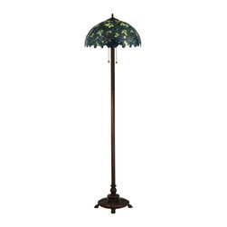 Meyda Tiffany - Nightfall Wisteria Floor Lamp - Bulbs not included. Requires two 60 watt medium X2 bulbs. Floral nouveau theme. Blue and green art glass shade made using copperfoil construction. Shade: 18 in. Dia. x 9 in. H. Overall: 18 in. Dia. x 63 in. H (20 lbs.). Care InstructionsCapture the tranquility of a garden stroll at nightfall with this nightfall wisteria table lamp by Meyda tiffany. Imagine wandering under darkening skies, past the deepening blooms and climbing vines of the wisteria shrubbery, as you prepare for a restful night of welcome slumber. Tiffany in the early 20th century is a masterpiece to be proudly displayed and privately enjoyed in any home or interior setting.
